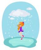 Happy girl skating on ice. Illustration royalty free illustration