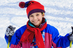 Happy girl with ski Royalty Free Stock Images