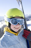 Happy girl with ski Royalty Free Stock Photo