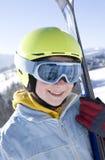 Happy girl with ski Royalty Free Stock Photo