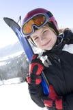 Happy girl with ski Stock Image