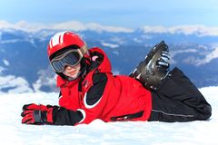 Happy girl in ski helmet Stock Photo
