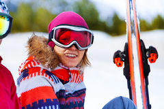 Happy girl in ski mask smiling Royalty Free Stock Photography
