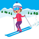 Happy Girl Skiing Stock Images