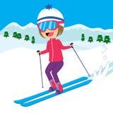 Happy Girl Skiing Stock Images