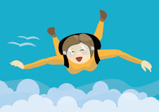 Happy girl skydiving over clouds Royalty Free Stock Image
