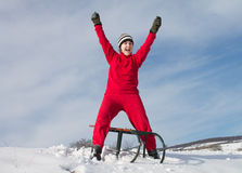 Happy Girl with sledge Royalty Free Stock Photography