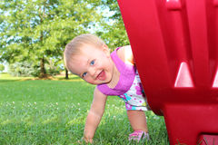 Happy Girl at Slide Stock Photography