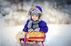 Happy girl smiles sitting on the sledge royalty free stock photos
