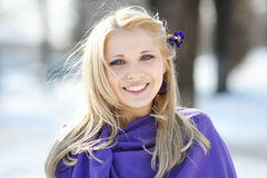 Happy girl smiling in winter Royalty Free Stock Photos