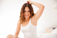 Happy girl with smooth skin Stock Images