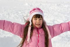 Happy Girl On Snow Stock Photo