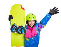 Happy girl with snowboard Stock Photography