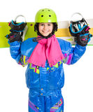 Happy girl with snowboard Royalty Free Stock Photography