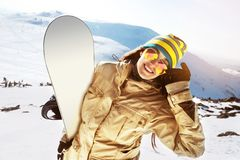 Happy girl snowboarder snowboard ski skiing concept stock images