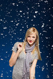 Happy girl in snowflakes Stock Photos