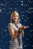 Happy girl in snowflakes Stock Photos