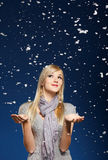 Happy girl in snowflakes Royalty Free Stock Photography