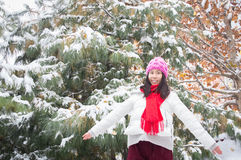 Happy girl snowing 2 Royalty Free Stock Photos
