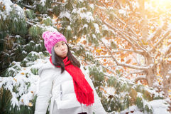 Snowing sunshine Girl. Sunshine Girl enjoy the first snowing royalty free stock photography