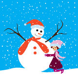 Happy girl and snowman Stock Photos
