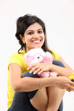 Happy girl with soft toys Royalty Free Stock Photography