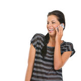 Happy girl speaking mobile phone Royalty Free Stock Photos