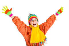 Happy girl in sports overalls. Happy girl in orange winter sports overalls, isolated on white stock photo