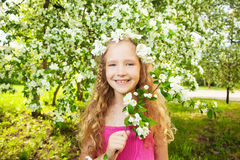 Happy girl at spring Royalty Free Stock Image