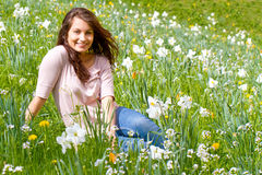 Happy girl in spring Stock Photos