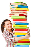 Happy girl with stack color book Stock Photos