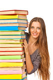 Happy girl with stack color books Stock Photography