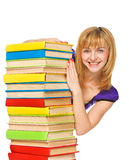 Happy girl with stack color books. Isolated Stock Image