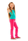 Happy girl stand with thumb up gesture Stock Photos