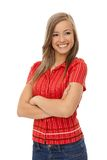 Happy girl standing arms crossed Royalty Free Stock Photo