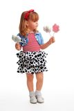 Happy girl standing with flower sweets Stock Photo