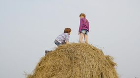 Happy girl standing on hay stack at harvesting field in countryside. Cheerful teenagers girl and boy having fun on stock video