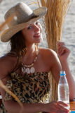 Happy girl with straw hat Stock Photo
