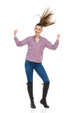 Happy Girl With Strong Hair Stock Images