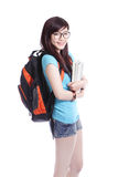 Happy girl student holdng book and smile Royalty Free Stock Images