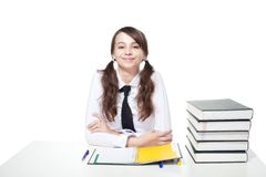 Happy girl study Royalty Free Stock Image