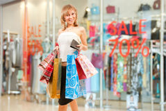 Happy girl after successful shopping Royalty Free Stock Images