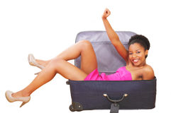 Happy girl in suitcase Royalty Free Stock Photos