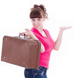 happy girl with a suitcase Royalty Free Stock Photography