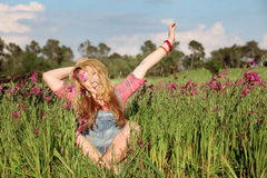 Happy girl in summer. Happy summer girl, kid , teen, teenager , youth in field Royalty Free Stock Images