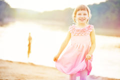 Happy girl in summer on beach Royalty Free Stock Photography