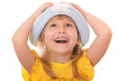 Happy girl in a summer hat Royalty Free Stock Images