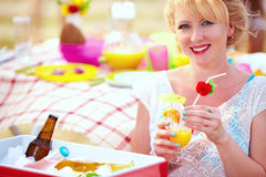 Happy girl on summer picnic party Royalty Free Stock Photo