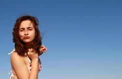 Happy girl summer sky swimsuit. Beautiful happy girl summer sky swimsuit stock photos