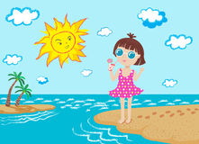 Happy girl and sun on the beach Royalty Free Stock Images